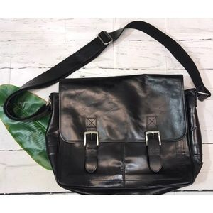 Fossil Black Leather Briefcase Messenger Bag